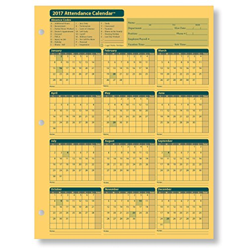 ComplyRight Attendance Calendar Card 2017, Yellow, Pack of 25 by ComplyRight