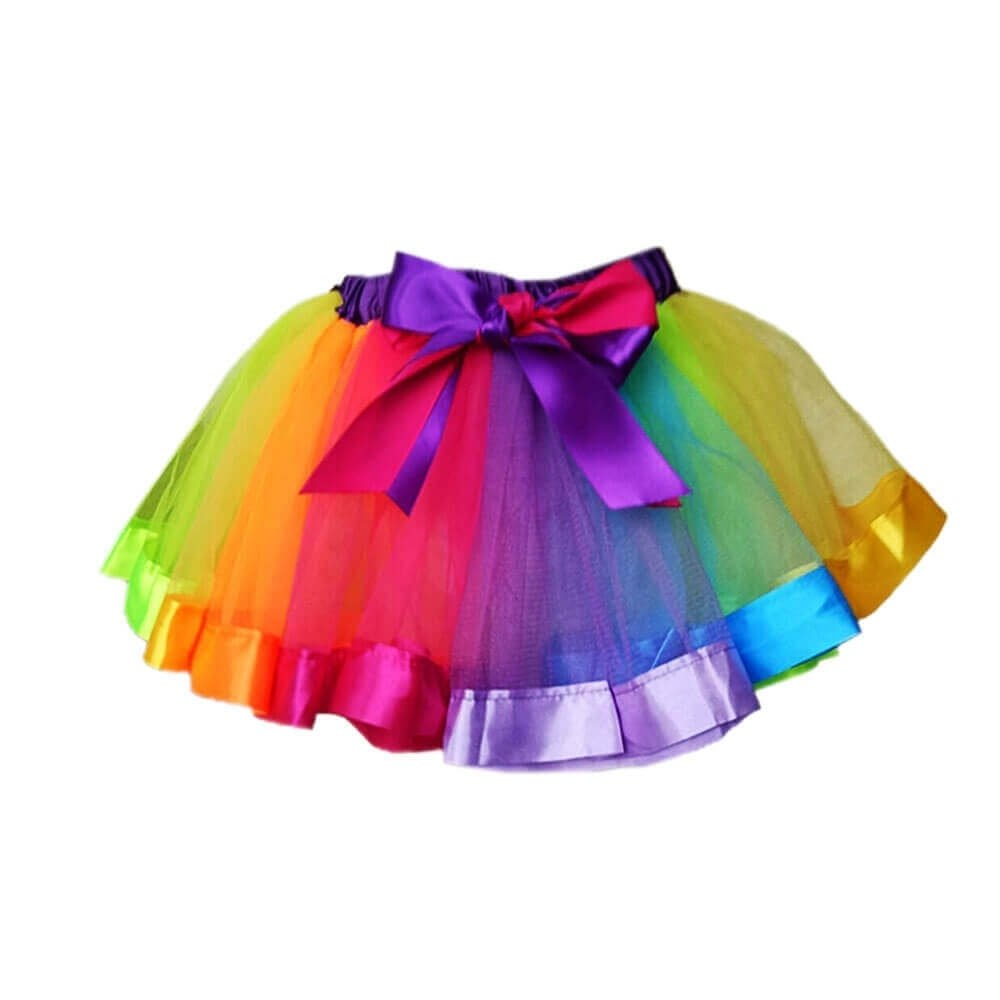 Danzcue Girls Rainbow Skirt Ruffle Tiered Tulle Tutu Skirt