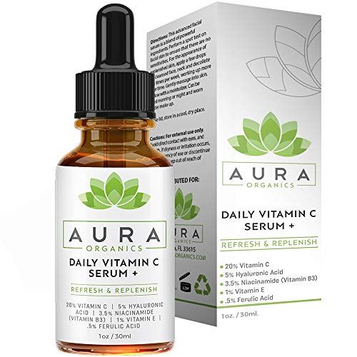 Vitamin C Serum for Face - Dark Spot Corrector for Face by Aura Organics - Anti Aging Serum with Hyaluronic Acid