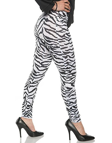 Underwraps Women's Retro 80's Zebra Leggings - White Zebra, -