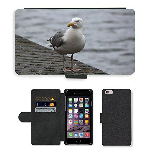 "Just Phone Cases PU Leather Flip Custodia Protettiva Case Cover per // M00129108 Mouette Oiseau Oiseaux Seevogel // Apple iPhone 6 PLUS 5.5"""