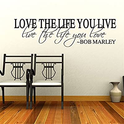MAFENT(TM)Love the Life You Live Live the Life You Love by Bob Marley Quote Wall Decal for Home Decor