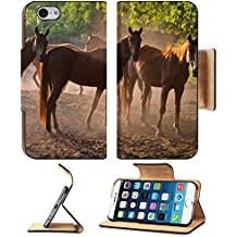 Liili Premium Apple iPhone 6 iPhone 6S Flip Pu Leather Wallet Case herd of horses back to the ranch pastures summer season 28276384