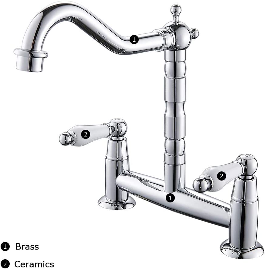 Ghopy 2 Hole Kitchen Sink Mixer Tap Traditional Deck Mounted Chrome Swivel Spout Brass Bridge Hot /& Cold Mixer Tap Antique