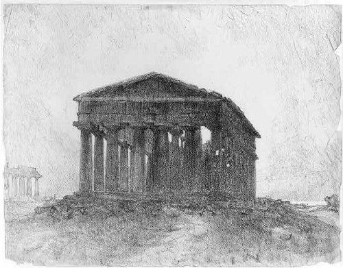 Doric Columns - Photo: Paestum,evening,Joseph Pennell,1857-1926,Doric columns,Temple Hera II at Paestum