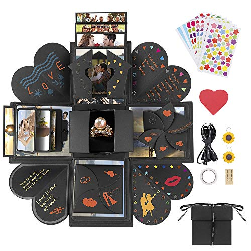 Explosion Gift Box, Furado DIY Handmade Photo Album Box Scrapbooking Gift Box Set as Birthday Wedding Engagement Gift, Mother's Day Gift,Anniversary or Valentine's Day Surprise Box about Love (Black) -