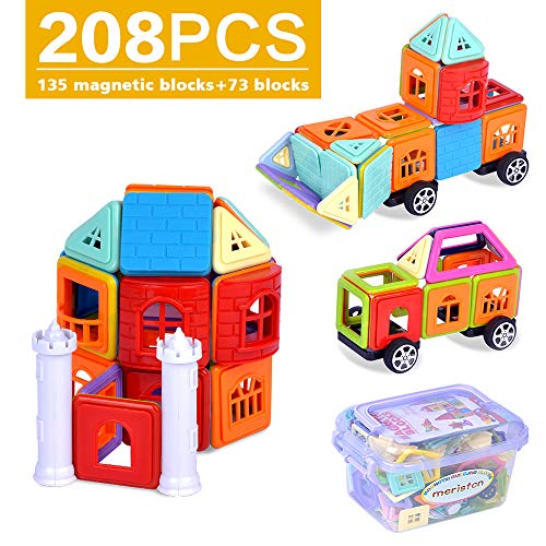 (MERISTCN Magnetic Building Blocks, 208 pcs Magnetic Toys 3D Magnetic Building Tiles for Kids Creative Educational Construction Magnet Block Toys for Children+Free Storage Bin +Manual)