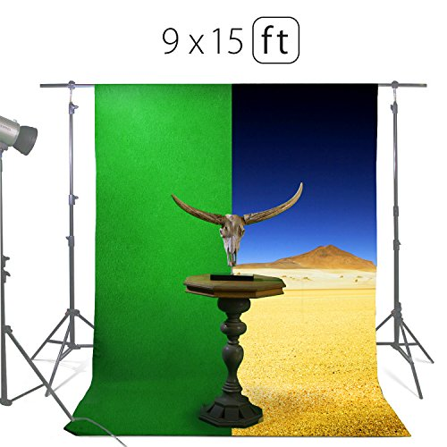 Easy Three Person Costumes (Green Screen Photo Backdrop or Background 9х15 Ft – 100% Cotton Muslin Chromakey Curtain Collapsible Set for Photography Studio Videos Gaming - Includes 3 Backdrop Clamps & a Carry Bag by MUVR lab)