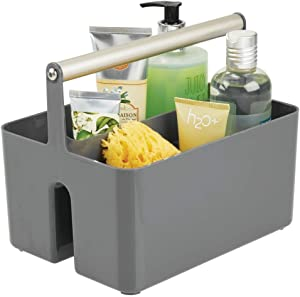 mDesign Plastic Portable Storage Organizer Utility Caddy Tote, Divided Basket Bin with Metal Handle for Bathroom, Dorm - Holds Hand Soap, Body Wash, Shampoo, Conditioner, Lotion - Charcoal Gray/Satin
