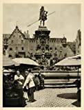 1935 Nuremberg Germany Market Neptune Fountain Statue - Original Photogravure