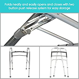 VIVE Adjustable and Portable Folding Walker with Push Button