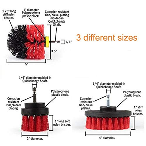 Cleaning Brushes - 3pcs Power Scrubber Brush Set Drill Brush Clean For Bathroom Shower Tile Cleaning Cordless Drill Attachment Kit Scrub Brush - (Color: 3pcs set red)