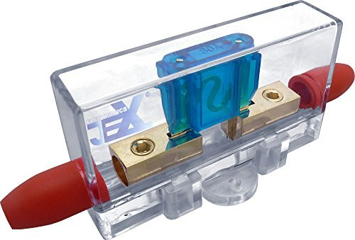 Jex Electronics In-Line Car Audio MAXI Blade Fuse Holder 4ga 12V/24V/32V DC + Free 30-100A Fuse ()