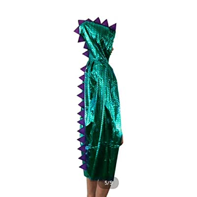 Attitude Studio Metallic Spike Cape, Hooded Scale Cloak, Dragon Dinosaur Medieval Accessory for Dress Up Pretend Play Fantasy Robe, 40 Inch One Size Halloween Costume for Kids Boys Girls - Green: Clothing