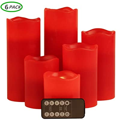Flameless Candles,Battery Operated Candles Led Candles Red Candles with Remote Control Electric Candles 3inch Fake Candles Pillar Candle Led Candles with timers Real Wax Candle: Home Improvement