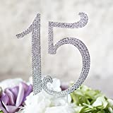 Number ''15'' Birthday Quinceneara Sweet 15 Cake Topper - Monogram Rhinestone Silhouette w/ Crystals