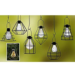 51JHuRAYcuL. SS300  - ReLIVE Outdoor Black Metal Hanging Lantern with Encased Solar LED Light Bulb