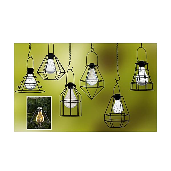 51JHuRAYcuL. SS600  - ReLIVE Outdoor Black Metal Hanging Lantern with Encased Solar LED Light Bulb