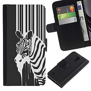 NEECELL GIFT forCITY // Billetera de cuero Caso Cubierta de protección Carcasa / Leather Wallet Case for Samsung Galaxy S4 IV I9500 // B & W Zebra