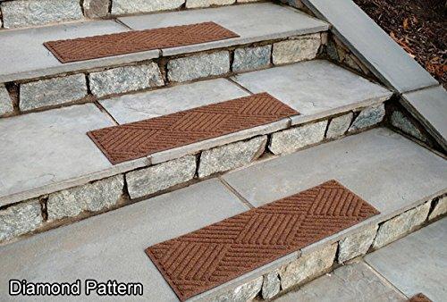 Waterhog Dark Brown 4 Tread Set Diamond Pattern Stair Treads