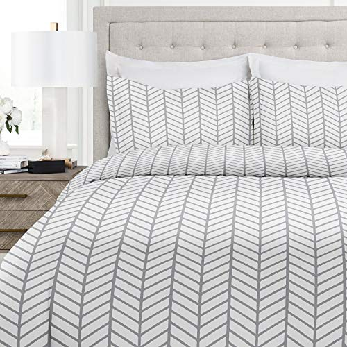 Italian Luxury Herringbone Pattern Duvet Cover Set - 3-Piece Ultra Soft Double Brushed Microfiber Printed Cover with Shams - Full/Queen - White/Light Gray