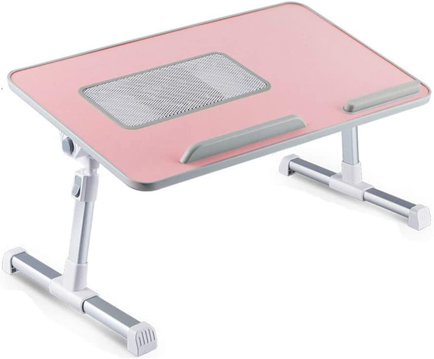 RiwiR Lap Desk Pink for 17 inch with Cooling Fan Foldable Laptop Desk Folding Portable Bed Desk Table Sofa Adjustable Height Tilt Angle Tray Table for Student Kids Adults Work Writing Large Size