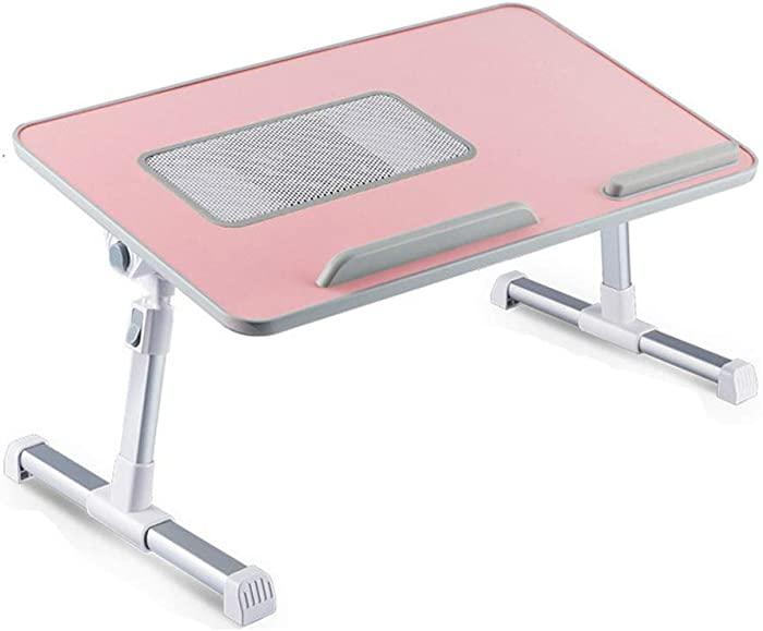 RiwiR Bed Desk Pink with Cooling Fan Foldable Lap Desks Stand Portable Laptop Folding Adjustable Height with Tilt Angle Sofa Table for Student Adults Hospital Home Work Writing Tray