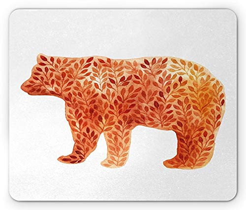 (Flying Pig Men Hand Paint Watercolor Style Bear Silhouette with Autumn Branches Leaves,Rectangle Mousepad, Orange Salmon Yellow )