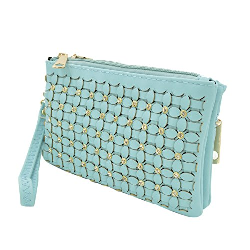 Soft Braided Floral Bag Blue Clutch Leather Wallet Rhinestone PU Crossbody Light Wristlet r7wCEqr4