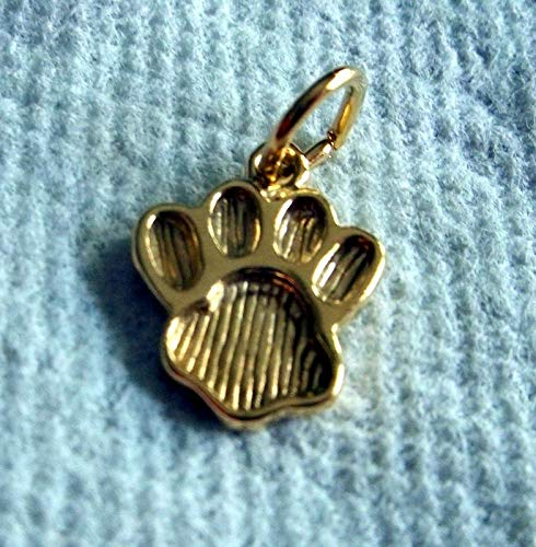 15x12mm Gold Tone Plated Over Sterling Silver Bear Tiger Dog. Paw Print Charm Vintage Crafting Pendant Jewelry Making Supplies - DIY for Necklace Bracelet Accessories by ()