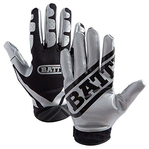 Battle Football Glove, Silver/Black, Adult Small (Battle Armour)