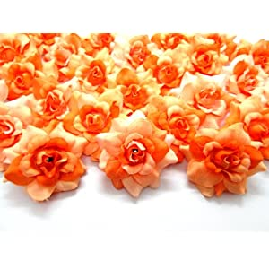 "(100) Silk Two Tone Orange Roses Flower Head - 1.75"" - Artificial Flowers Heads Fabric Floral Supplies Wholesale Lot for Wedding Flowers Accessories Make Bridal Hair Clips Headbands Dress 34"