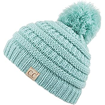 b68d5997c60 C.C Kids Beanie Ages 2-7 Warm Chunky Thick Stretchy Knit Slouch Beanie  Skull Kids Hat with Pom (YJ-847-POM) (Mint)