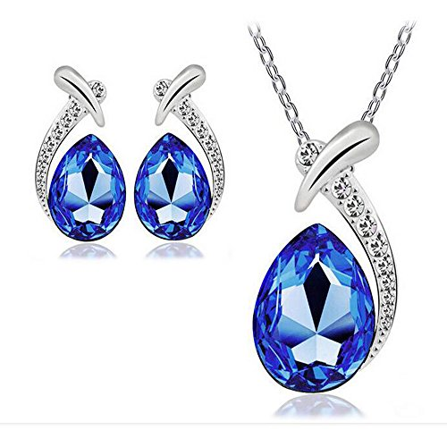 Darkey Wang Woman Fashion Water Droplets Crystal Short Paragraph Clavicle Necklace Earrings Set(Deep - Outlets Maine Shopping