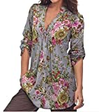 Tootlessly Women Stylish Long Sleeve Deep-V Neck Button Blouse Shirt