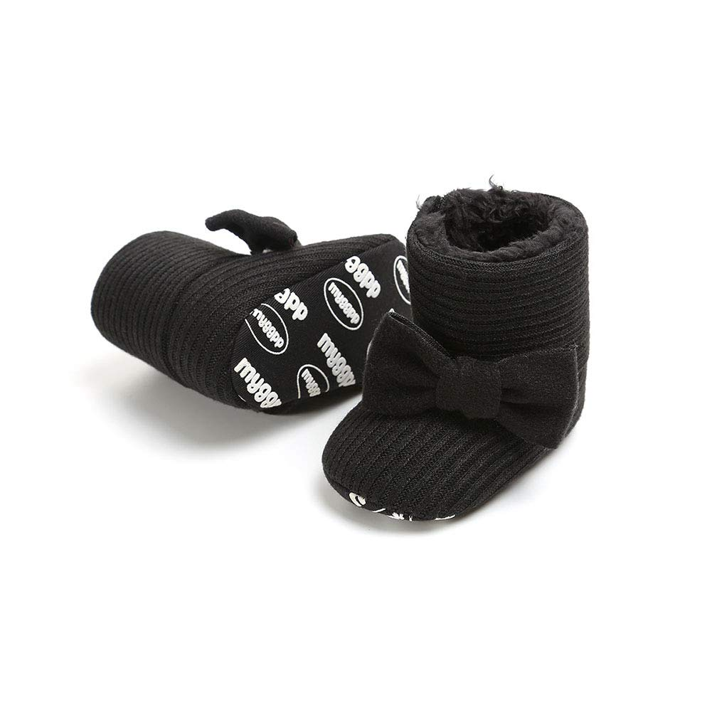 Black 12cm Alamana Fashion Infant Baby Girl Winter Bowknot Anti-Slip Prewalker Toddler Shoes Boot