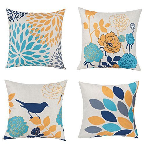 Unique Warm Outdoor Sofa Home Pillow Covers Floral Cartoon Shadow Orange Bird Silhouette Cotton Linen Cushion Covers 18 X 18 Inches Pack of 4