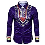 Ximandi African Print Shirts Male Autumn Casual Long Sleeved Pullover Top Blouse