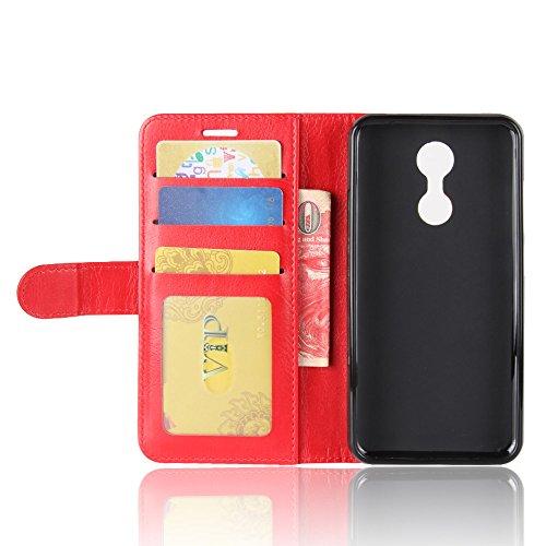 Cover Funda Para Homtom HT37 Pro,Elegante Billetera Cover PU Cuero Funda Flip Case Carcasa Con Stand Función(Negro) Rojo