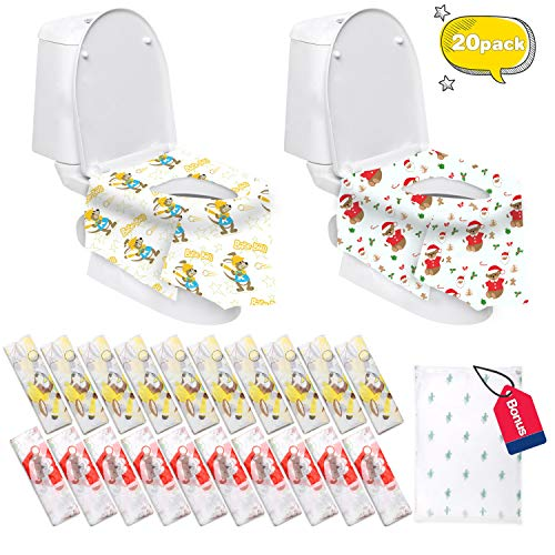 Disposable Toilet Seat Covers Extra Large 20 Packs (10 Bear Design & 10 Kangaroo) Perfect for Adults and Kids Potty Training with Individually Wrapped (Bear & Kangaroo)