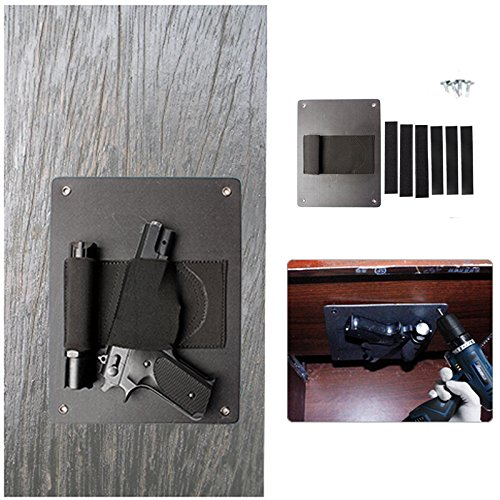 Under The Desk Holster 1PC Safe Quick Access Holder Concealed Handgun Storage Holster With Mag Flashlight Slot For Vehicle Car Door Desk (black)