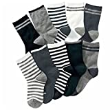 Boys Short Socks Fashion Pure Color Cotton Basic Crew Kids Socks 10 Pair Pack
