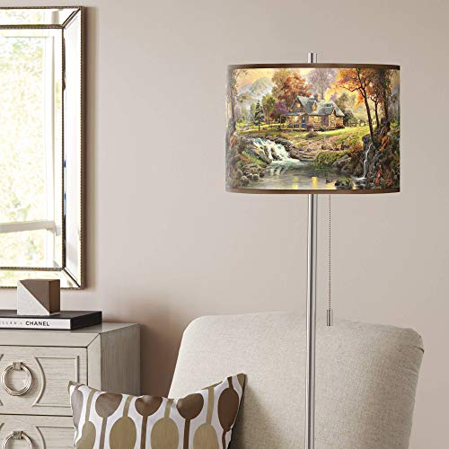 Thomas Kinkade Mountain Retreat Giclee Nickel Floor - Lamp Giclee Nickel Floor