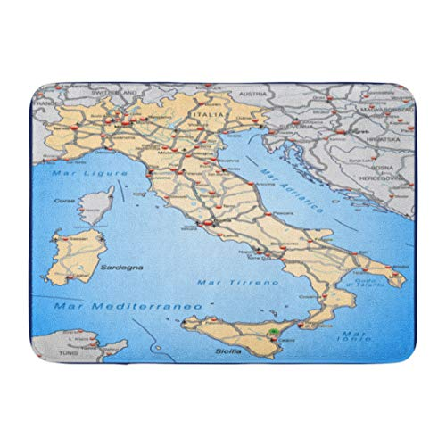 (Emvency Doormats Bath Rugs Outdoor/Indoor Door Mat Ancona Map of Italy Highways in Pastel Orange Benevento Bergamo Bologna Bathroom Decor Rug Bath Mat 16