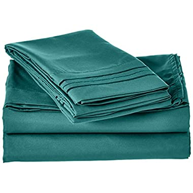 Elegant Comfort® 1500 Thread Count Wrinkle,Fade and Stain Resistant 4-Piece Bed Sheet set, Deep Pocket, HypoAllergenic - California King Turquoise