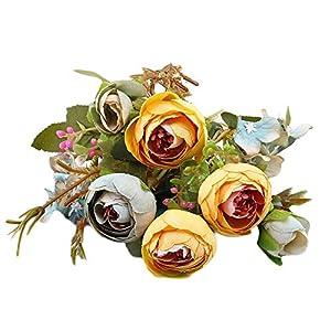 VOWUA Artificial Flower Full Bloom Tea Plum Silk Flowers Lifelike Plastic Bouquet for Decoration 1 Bouquet 108