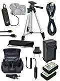 Accessory Bundle Kit For Canon Rebel EOS Rebel T6 T3 T5 1200D 1300D, 1100D, EOS Kiss X50, Kiss X70 Camera, Includes 2x LP-E10 Battery + Charger + Tripod+ Bag+ Case+ Shutter Remote+ USB Cable