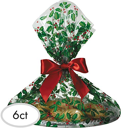 Holly Christmas Multicolored Cookie Tray Bags, 6 Ct. | Party Supply
