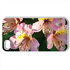 alstroemaeria - Case Cover for iPhone 4 and 4s (Flowers Series, Watercolor style, White)