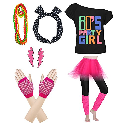 Xianhan 1980s Outfit 80's Party Womens Retro Costume Accessories Outfit Dress for 1980s Theme Party Supplies (M/L, Hot Pink) ()